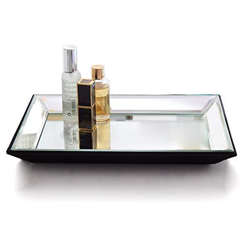 Meetart Spiegel dekorative Tablett Größe 21x30x3cm, Kosmetiktablett Silber Spiegel Tablett rechteckige Schmuck Aufbewahrungsbox dekorative Tablett Spiegel Tablett