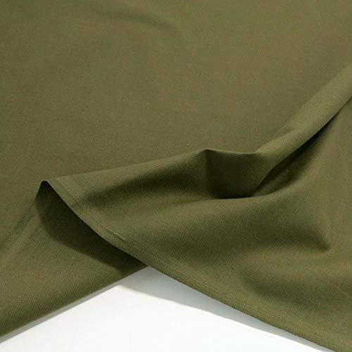 TOLKO Baumwollstoff | 42 kräftige ÖkoTex Farben Baumwoll-Nesselstoff uni Kleiderstoff Dekostoff | Baumwolle Meterware 150cm breit | Vorhang-Stoff Bezugsstoff Webstoff 50cm (Oliv Khaki)