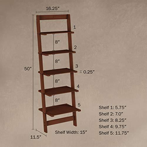 Lavish Home 5-Tier Ladder Bookshelf- Leaning Decorative Shelves for Display, Walnut