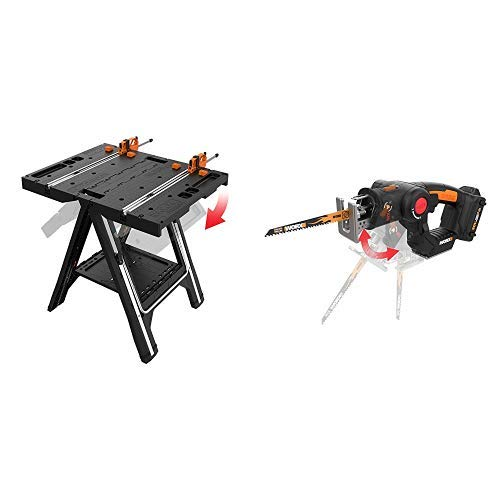 WORX Pegasus Multi-Function Work Table and Sawhorse with Quick Clamps and Holding Pegs – WX051 with AXIS 2-in-1 Reciprocating Saw and Jigsaw with Orbital Mode