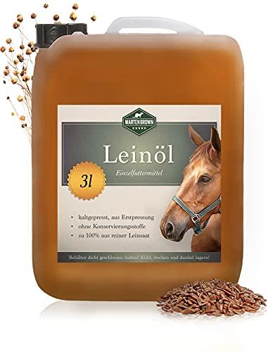 Martenbrown® Olio di lino premium per cavalli, cani e altri animali | in tanica XXL [3 litri] | pressato a freddo e 100% puro e naturale | integratore alimentare per mangimi animali