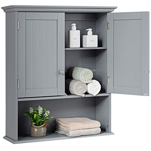 Tangkula Wall Mount Bathroom Cabinet Wooden Medicine Cabinet Storage Organizer with 2-Doors and 1- Shelf Cottage Collection Wall Cabinet (Grey)