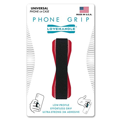 LoveHandle Universal Grip for Most Smartphones, Mini Tablets and Cases, Black Elastic Strap with Red Base, LH-01Red