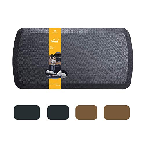 Anti Fatigue Comfort Floor Mat By Licloud -20'x32'x3/4' Professional Grade Quality Perfect for Standing Desks, Kitchens, and Laundry - Relieves Foot, Knee, and Back Pain(Black)