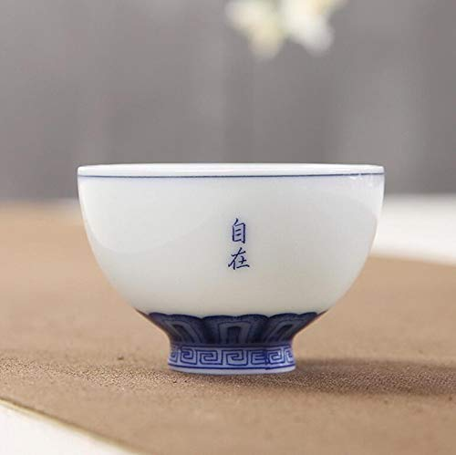 Qnmbdgm Chinese stijl, handbeschilderd, 55 ml, kleine theekopje, Kung Fu Jingdezhen, ruwe potjes, handbeschilderd, kopje, Lotus