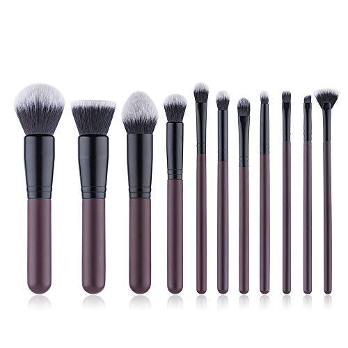 Pinceau De Maquillage Set 11 Pièces Cosmétiques Professionnels Brosses Pinceaux Bourgogne Pinceau De Maquillage, Outils Fibre De Beauté Des Cheveux, Outils De Maquillage,Marron