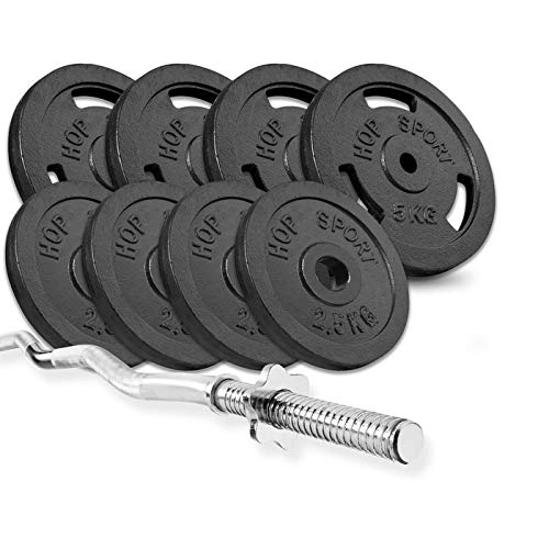 Hop Sport Cast Iron Barbell Set 37kg: 1x Curl Bar with 37kg, (4 x 5kg+ 4 x 2,5kg) Iron Weight Discs - Weight Lifting Set for Bodybuilding - Home Gym Equipment for Training Bench