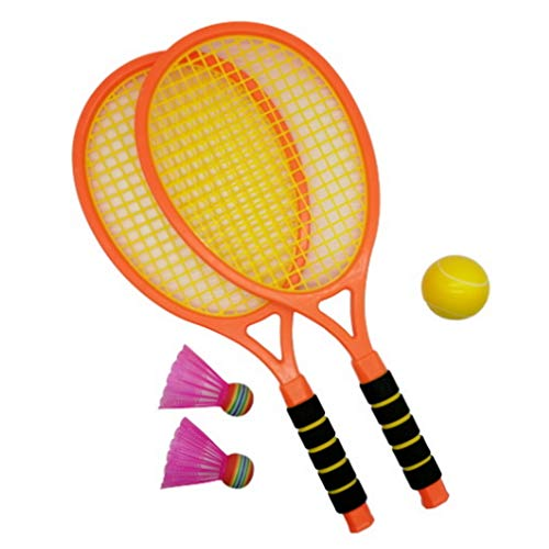 (APOSITV)ラケットセット テニスセット バトミントン ボール 子供 羽2個 ボール1個 親子 屋外 室内 (オレンジ)