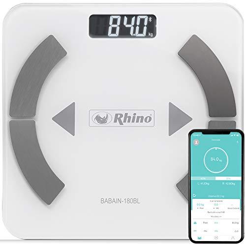 Rhino BABAIN-180 BL Bascula digital con bluetooth para el análisis de grasa corporal, 9 datos analizados, 24 usuarios y modo pesaje de bebés.