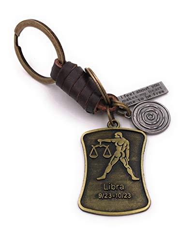 Onwomania Sleutelhanger Zodiac teken Weegschaal brons leer Charm Chain Sleutelhanger Ring