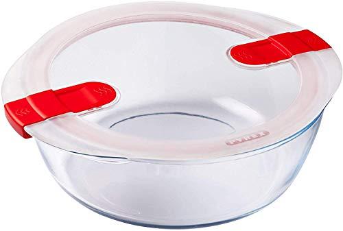 Pyrex - Cook & Heat - Plat Rond en Verre avec Couvercle Hermétique Spécial Micro-ondes – Boîte de conservation – Cuisinez au four, Conservez et Réchauffez