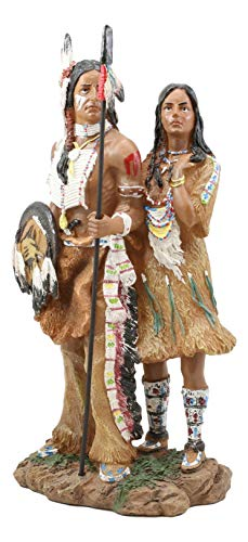 Ebros Gift Colorful Hand Painted Proud Tribal Native American Indian Couple Statue Eagle Warrior Spear Hunter Husband and Wife Family Decorative Figurine 12.5' Tall As Indian Heritage Decor Sculpture