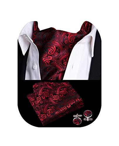 Barry.Wang Herren Krawatte Seide Ascot Paisley Schal Selbstbinden Einstecktuch Manschettenknöpfe Set Kleid Hochzeit - Rot - Einheitsgröße