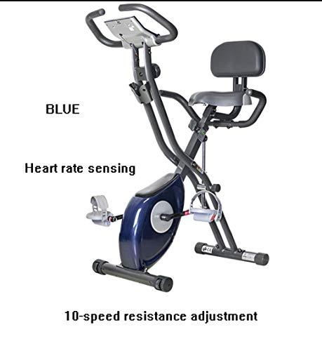 Zry Magnética reclinada Bicicleta Plegable Bicicleta Plegable de Pedal de casa for Bajar de Peso girando Gimnasio Ejercicio en Bicicleta (Color : Blue 10-Speed)