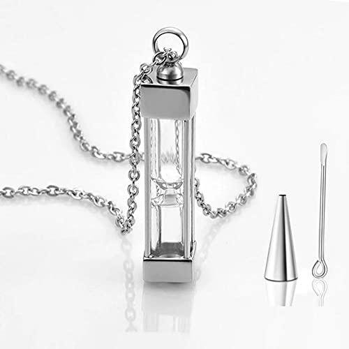 BHSICSACLJ Collar de joyería Collar de urnas de Reloj de Arena para Cenizas Joyería de cremación Collar con Colgante conmemorativo de Acero Inoxidable de Recuerdo