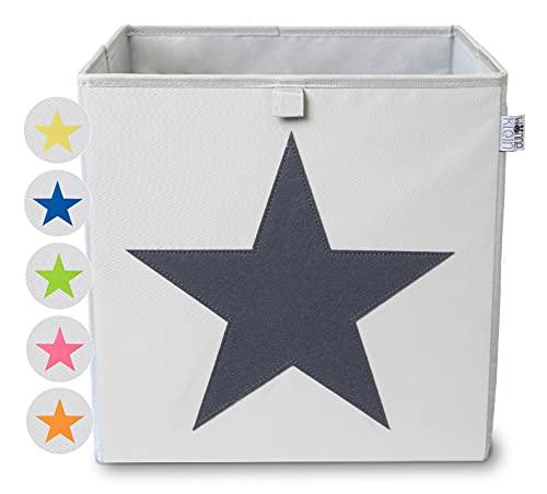 wonneklein Aufbewahrungsbox STERN I extra stabil I 6 Farben I Box (33x33x33 cm) zur Aufbewahrung im Würfelregal I Jugendzimmer I mit strahlendem Stern als Deko (grau)