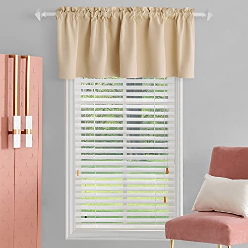 TOAVA DECO Beige Valance Curtains for Windows 18 Inch Length Rod Pocket Blackout Beige Window Valances for Living Room Bedroom Kitchen Bathroom Basement Windows 52 x 18 Inches Long 1 Panel