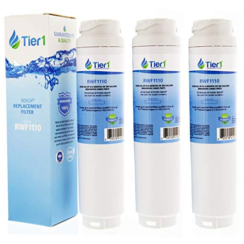 Tier1 Refrigerator Water Filter for Bosch 644845 REPLFLTR10 UltraClarity, 644845, 9000194412, 740570, 9000077095, 9000193914 - with Activated Carbon Media to Reduce Chlorine Taste and Odor - 3 Pack