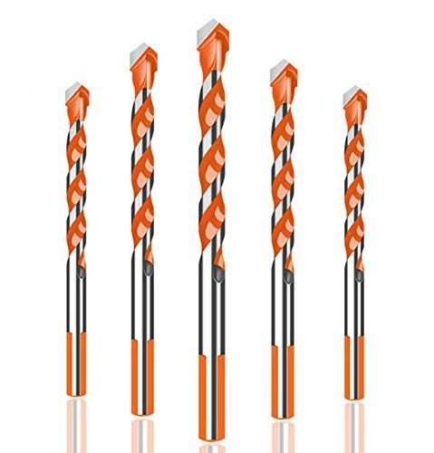BESYZY - Set di 5 punte elicoidali per trapano, per vetro, piastrelle, lega, 6 mm, 6 mm, 8 mm, 10 mm, 12 mm, per piastrelle, cemento, mattoni, legno, vetro, plastica e marmo