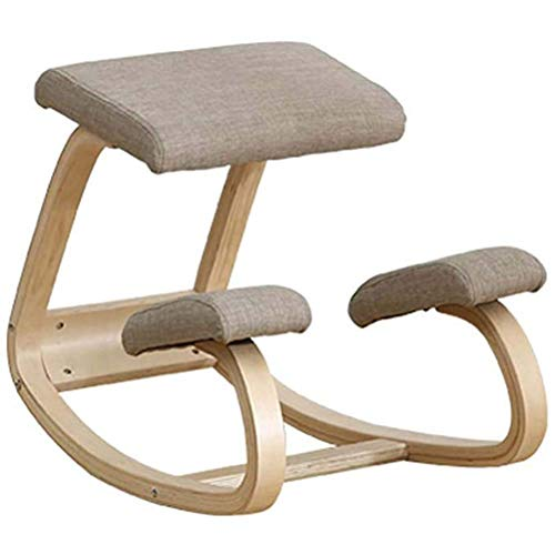 Sedia Ergonomica Inginocchiato, Sedia ergonomica in ginocchio, sedia da ufficio a dondolo in legno con sgabello per la correzione della postura per una migliore postura, cuscini comodi e spessi, nero