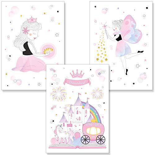 PREMYO Cuadros Infantiles Habitación Niña - Láminas Decorativas para Enmarcar - 3 Póster Princesa Castillo Rosa A4