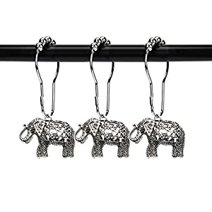 ZILucky Set of 12 Elephant Shower Curtain Hooks Decorative Home Bathroom Stainless Steel Rustproof Full Body with Filigree Swirls Shower Curtain Rings Decor Accessories (Silver)