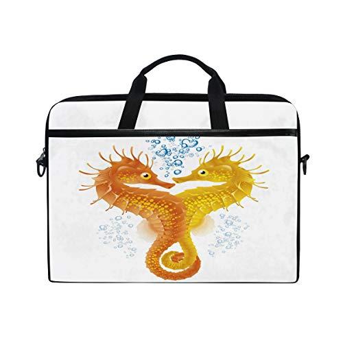 HaJie Laptop Bag Ocean Sea Seahorse Animal Pattern Computer Case 14-14.5 in Protective Bag Travel Briefcase with Shoulder Strap for Men Women Boy Girls