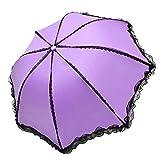 レースレディースパラソル傘レインレディースブラックUVプロテクション防風防水3折りたたみプリンセス傘-紫-