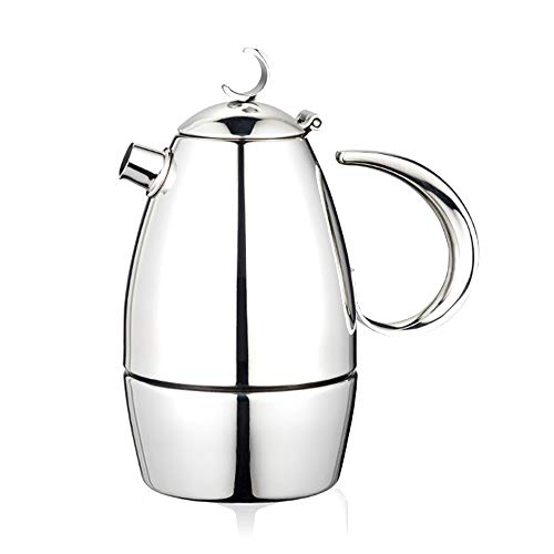 Why Choose Mocha Coffee Pot Coffee Tea Maker Espresso Maker Mocha Pot Household Espresso Pot Thickened 304 Stainless Steel Spresso Coffee Pot (Color : Silver, Size : 4 cup)