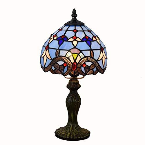 JUNJUNA Lampe de Table Tiffany, lumière de Nuit Baroque Bleu Verre teinté, avec Abat-Jour, Base,20cmindiameter