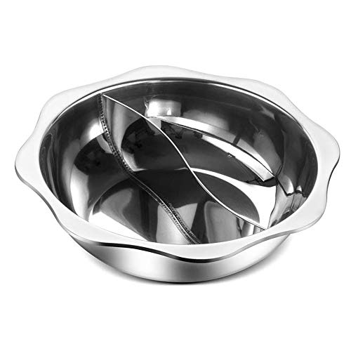 For Sale! ZLSANVD Chinese-style Household Split Hot Pot, Made of Stainless Steel, Large Capacity, Non-stick Pan, Non-slip Bottom, Heating Faster and Better Cleaning