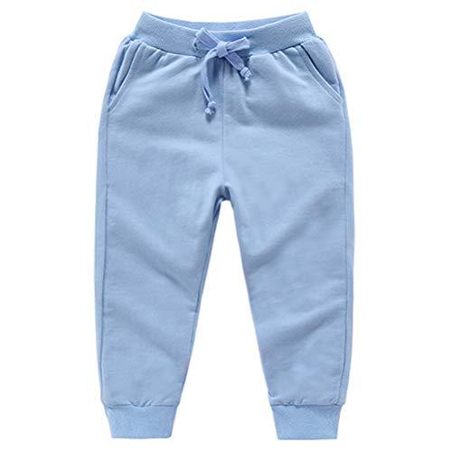 DCUTERQ Pantalones Deportivos para Niños Niñas Pantalón Largos Elástico Cintura Pantalones de Chándal Joggers Algodón para Bebé Azul Claro 1-2 Años