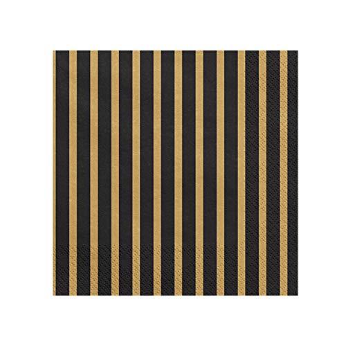 partydeco 20 Servietten Streifen - schwarz Gold   aus Papier