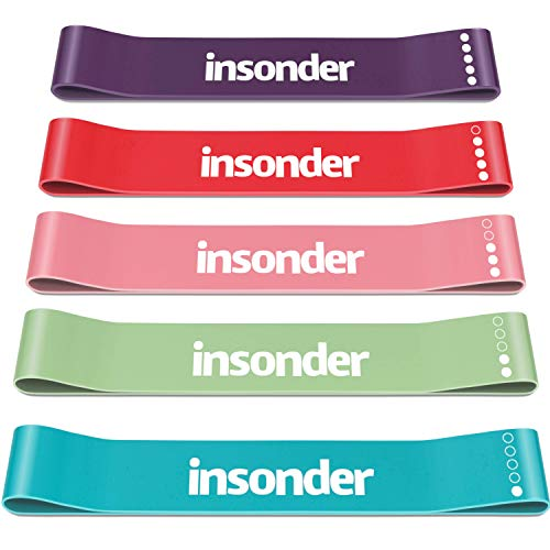 Insonder Resistance Bands Set Skin Friendly Loop Bands with Workout Guide Great for Exercise of Glutes Legs Thigh Fitness Physical Therapy Pilates