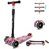 YouFen Kinder - Monopattino per bambini da 3 a 12 anni, con ruote LED lampeggianti di alta qualità, con 3 manubri regolabili in altezza e pieghevoli, colore: rosa
