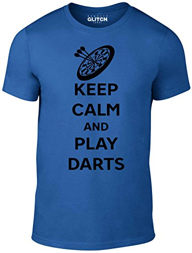 Reality Glitch Herren Keep Calm and Play Darts T-Shirt (Königsblau, X-Large)