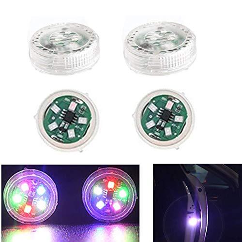 Youngine 4 Stück Universal Auto Tür Warnlicht Anti-Kollision LED Sicherheitsleuchte Stroboskop Blinken Offen Reflektor Lampe Auto On/Off mit 3 Blinkmodi (Bunt)