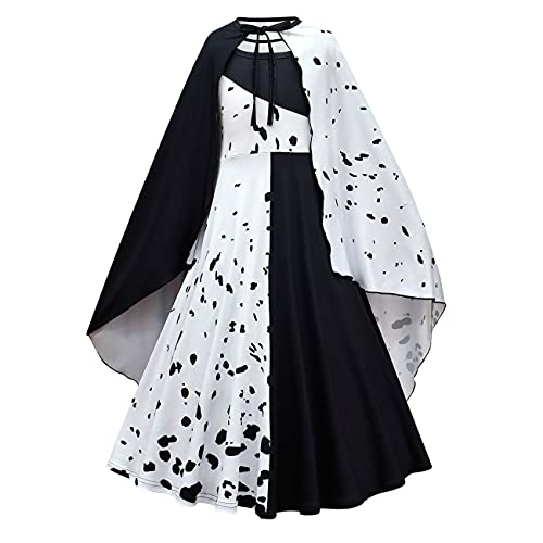 OBEEII Dalmatian Disfraz Niñas 101 Dalmatian Disfraz de Cruella De Ville Vestido...