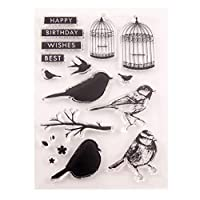 jokeWEN クリアスタンプ シリコンスタンプ 鳥かごシリコンクリアシールスタンプDIYスクラップブッキングエンボスフォトアルバム装飾紙カードクラフトアート手作りギフト