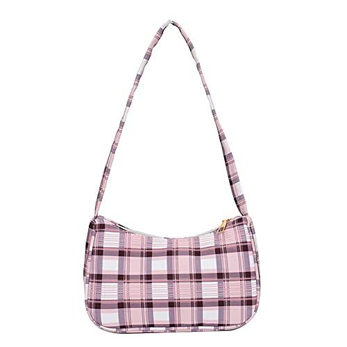 Bolso de hombro de tela de impresión a cuadros de moda bolso casual, Pink, 33 EU