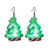 Bonitos pendientes de Navidad con LED – Papá Noel, árbol de Navidad, copos de nieve, dulces, lágrimas de nieve, regalo para adolescentes y niñas, Plástico,