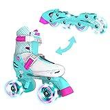 YVolution Neon Combo Roller Skate スケート ローラースケート インラインスケート 子供用 ローラーシューズ LED光るタイヤ 18.5cm-24cm サイズ調整可能 安定 子供用 初心者向け ワイートx ピンク