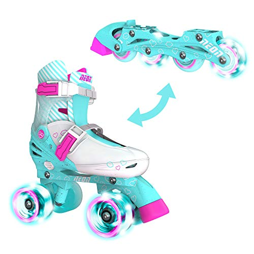 Yvolution Neon Combo Skates | 2-1 Quad and Inline Skates for Kids with LED Wheels | Adjustable Sizing (Teal Pink, 12-2)