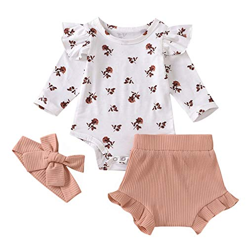 Infant Baby Girl Floral Ruffle Romper Ribbed Bloomer Headband 3pcs Shorts Outfit White