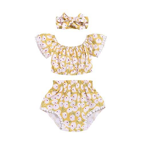 Gyratedream Zomer Baby Meisje Leuke afdrukken Een schouder Korte mouw en Pant Kid Tweedelige Outfit Set