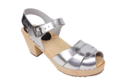 Lotta From Stockholm Torpatoffeln Swedish Clogs : High Heel Peep Toe Clogs in Silver Leather US...