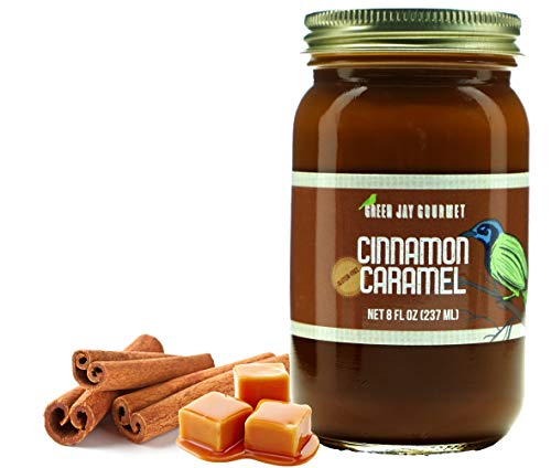 Green Jay Gourmet Cinnamon Caramel Sauce - Cajeta - Gluten Free Caramel Dip - Dulce de Leche - Rich and Buttery - Great for Coffee, Desserts and Snacks - No Preservatives - Made in the USA - 8 Ounces