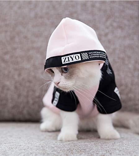 Katzenkleidung Frühling und Sommer Dünnschnitt zweizackige Kleidung Kätzchen Puppenpullover Britische kurze Haustierkleidung Frühling und Herbst Hoodie für Katzen (S,Rose)