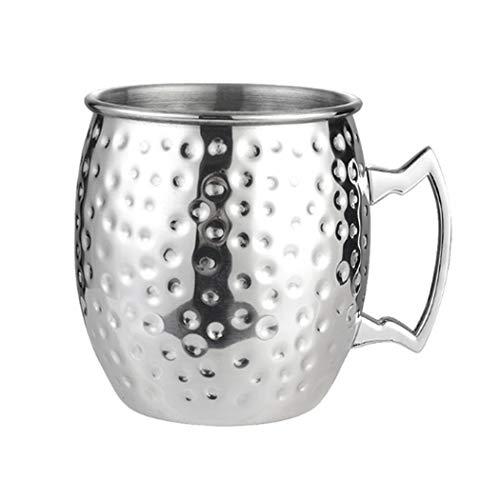 Hoshen Copper-Plated M Cup Vaso de cerveza, cóctel chapado en cobre taza de martillo, taza de metal, 18 onzas, taza de cobre de acero inoxidable, adecuado para barra - punto de plata