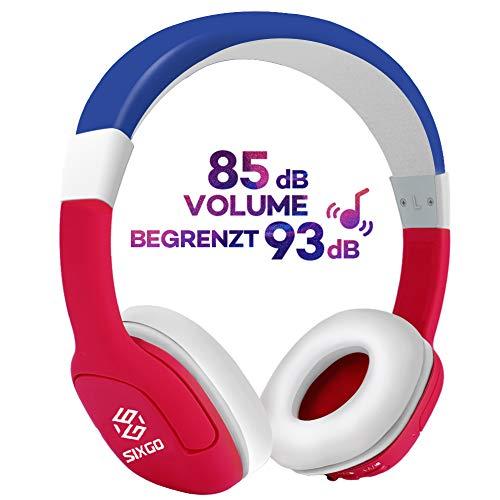Drahtlose 2-in-1 Kinder Kopfhörer, SIXGO Bluetooth Headset, einstellbare 3,5-mm-Stereo-Kinder-Over-Ear-Buchse mit Mikrofon und Lautstärkeregler